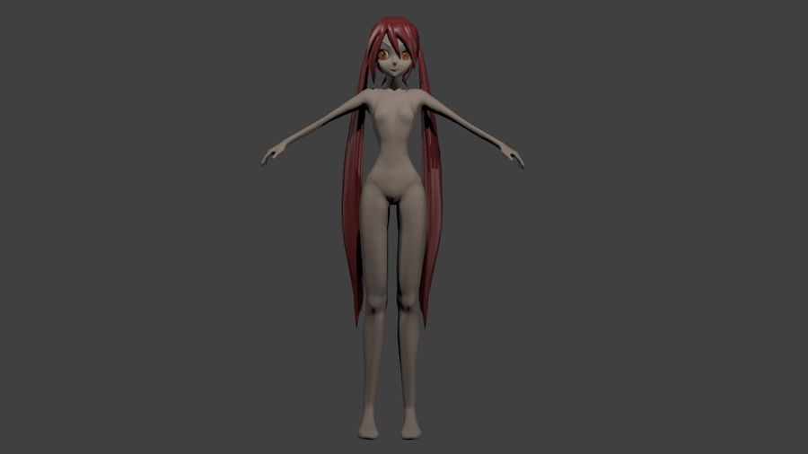 Anime Girl royalty-free 3d model - Preview no. 5