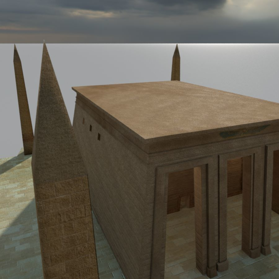 Antiguo templo egipcio con obeliscos royalty-free modelo 3d - Preview no. 2
