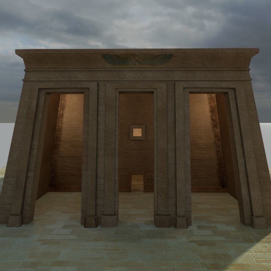 Antiguo templo egipcio con obeliscos royalty-free modelo 3d - Preview no. 1