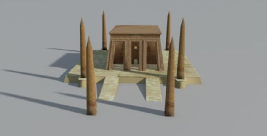 Antiguo templo egipcio con obeliscos royalty-free modelo 3d - Preview no. 4