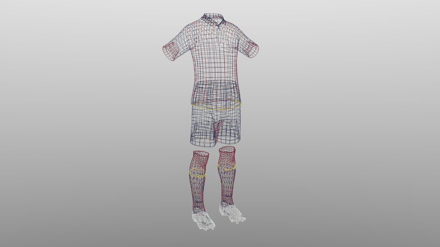 soccer kit, clothes, barcelona - shirt shorts shoes royalty-free 3d model - Preview no. 4