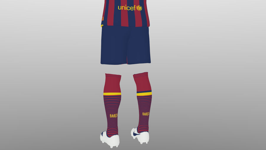 soccer kit, clothes, barcelona - shirt shorts shoes royalty-free 3d model - Preview no. 11