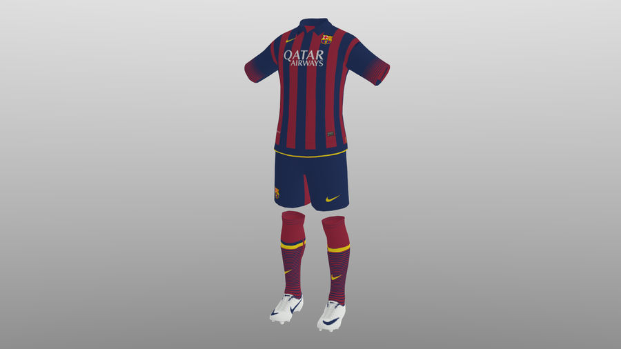 soccer kit, clothes, barcelona - shirt shorts shoes royalty-free 3d model - Preview no. 5