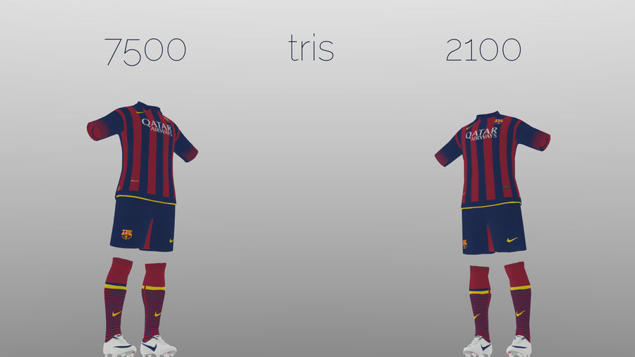 soccer kit, clothes, barcelona - shirt shorts shoes royalty-free 3d model - Preview no. 2