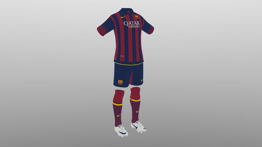 soccer kit, clothes, barcelona - shirt shorts shoes royalty-free 3d model - Preview no. 3