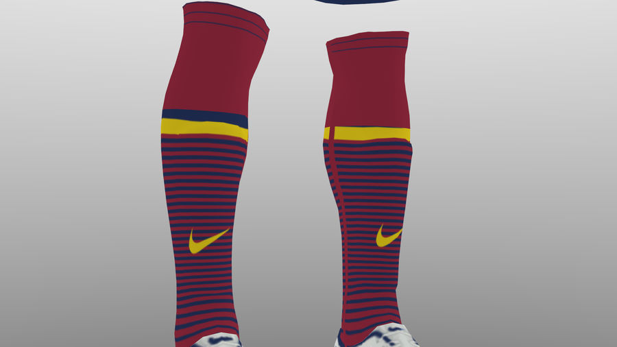 soccer kit, clothes, barcelona - shirt shorts shoes royalty-free 3d model - Preview no. 8