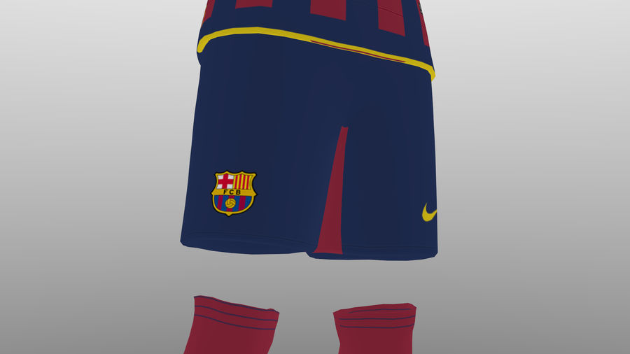 soccer kit, clothes, barcelona - shirt shorts shoes royalty-free 3d model - Preview no. 7