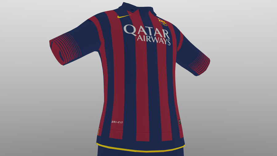 soccer kit, clothes, barcelona - shirt shorts shoes royalty-free 3d model - Preview no. 6
