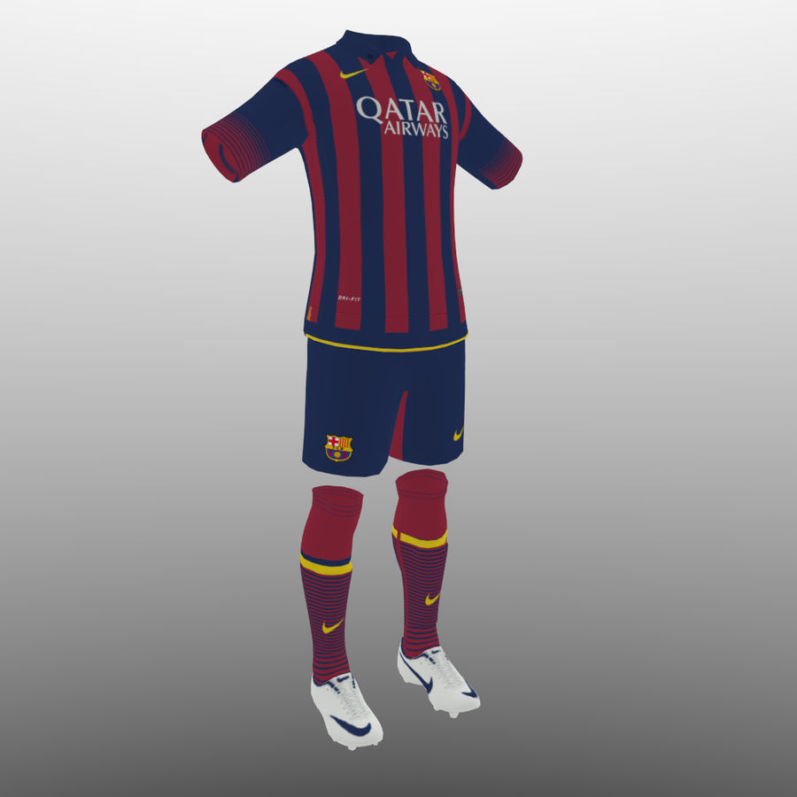 soccer kit, clothes, barcelona - shirt shorts shoes royalty-free 3d model - Preview no. 1