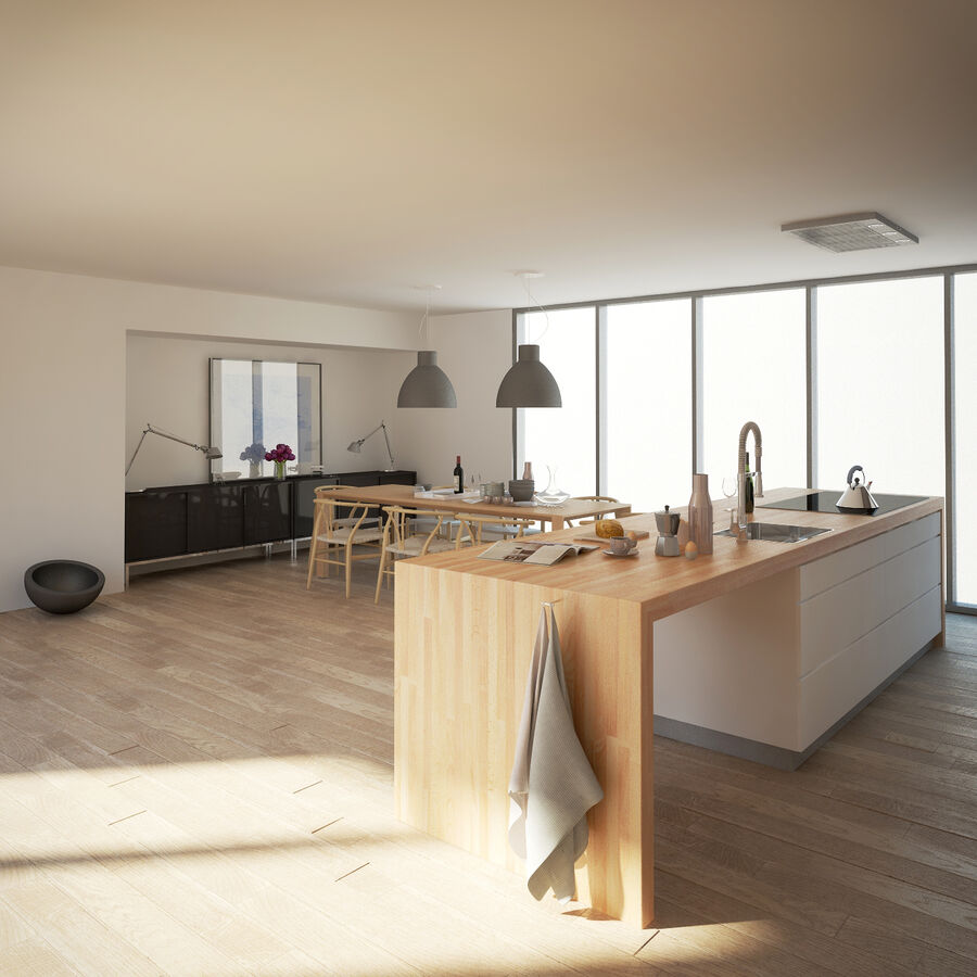 Interior da cozinha 3 royalty-free 3d model - Preview no. 4