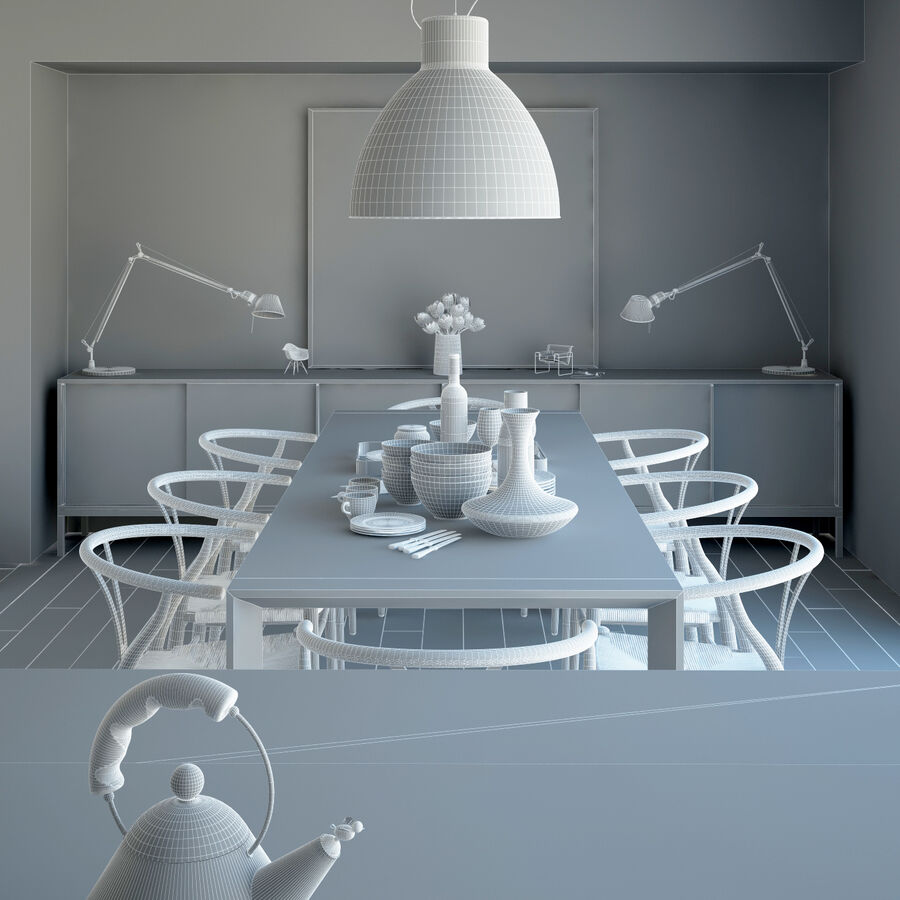 Interior da cozinha 3 royalty-free 3d model - Preview no. 15