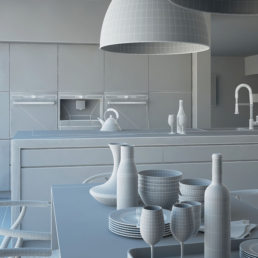 Interior da cozinha 3 royalty-free 3d model - Preview no. 17