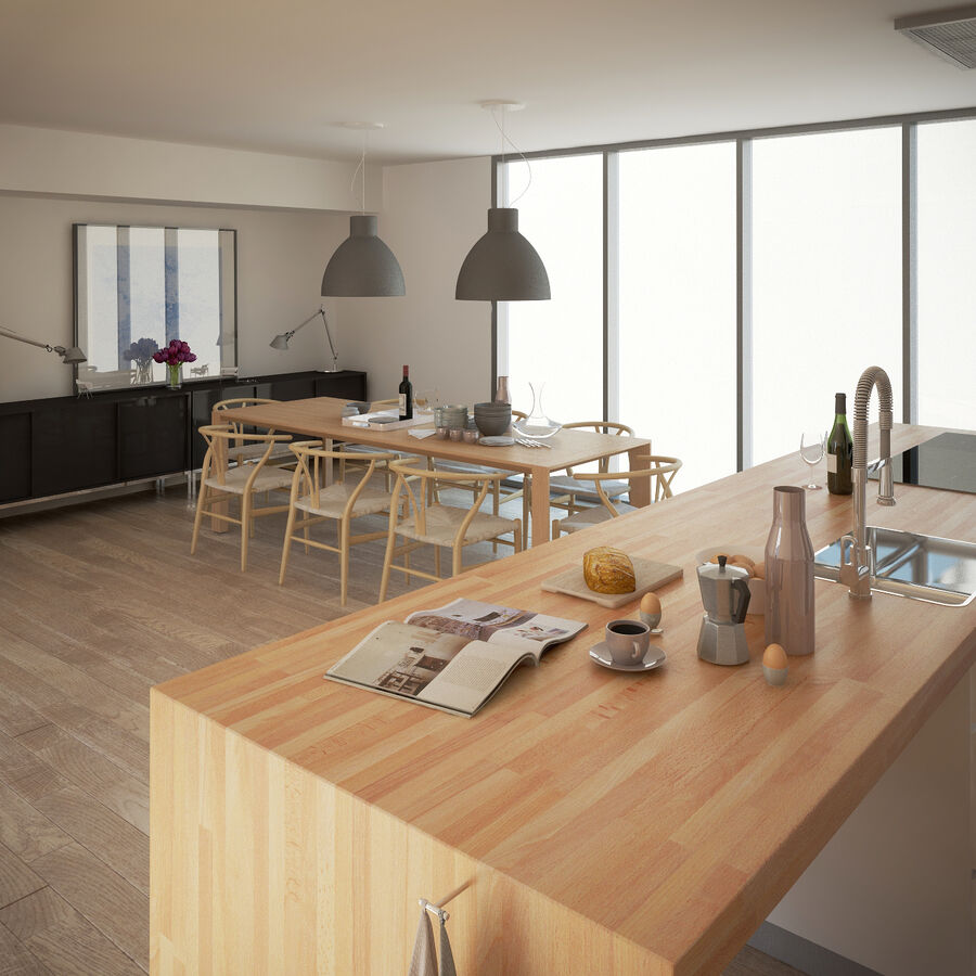 Interior da cozinha 3 royalty-free 3d model - Preview no. 10
