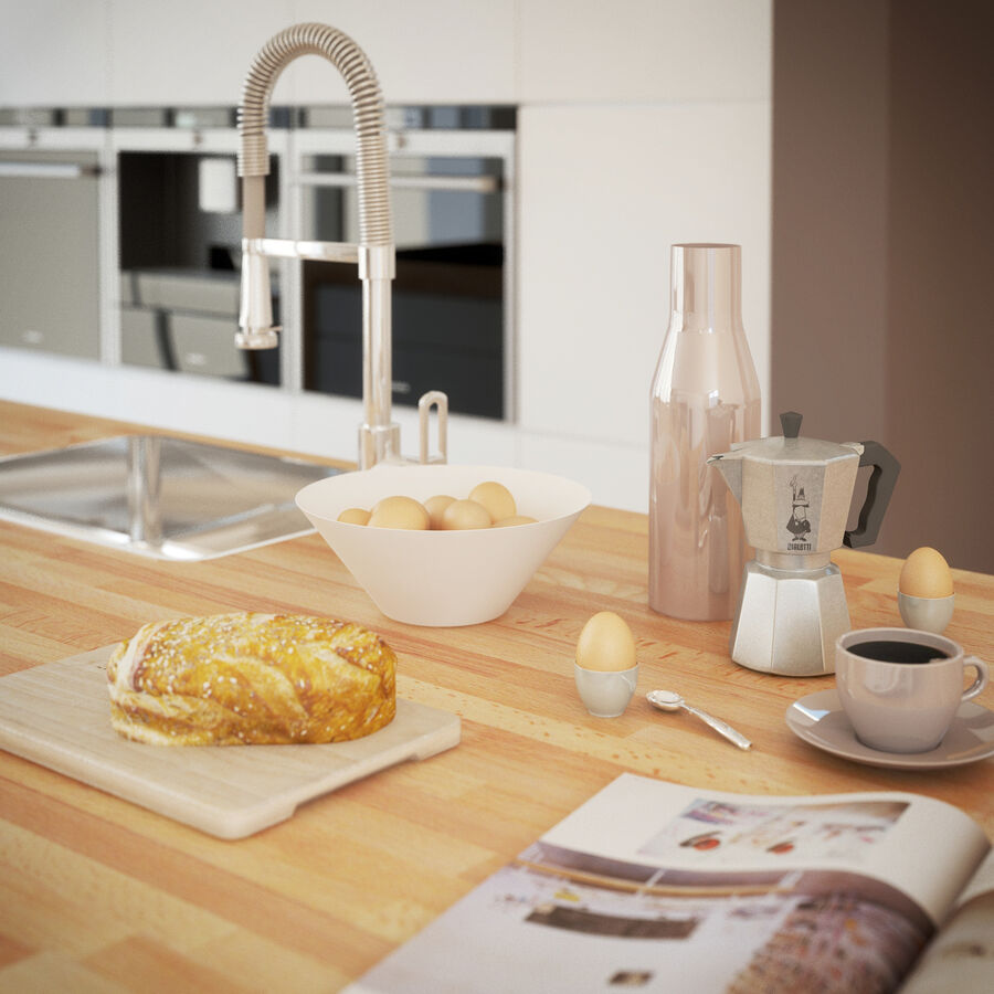Interior da cozinha 3 royalty-free 3d model - Preview no. 5