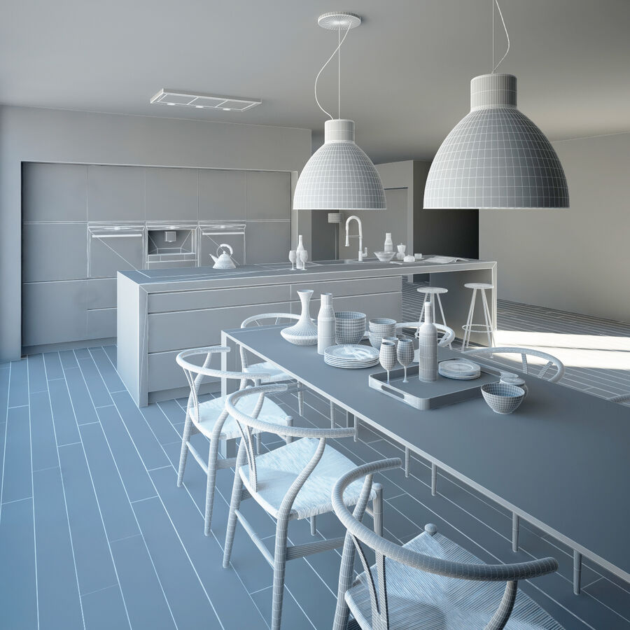 Interior da cozinha 3 royalty-free 3d model - Preview no. 16
