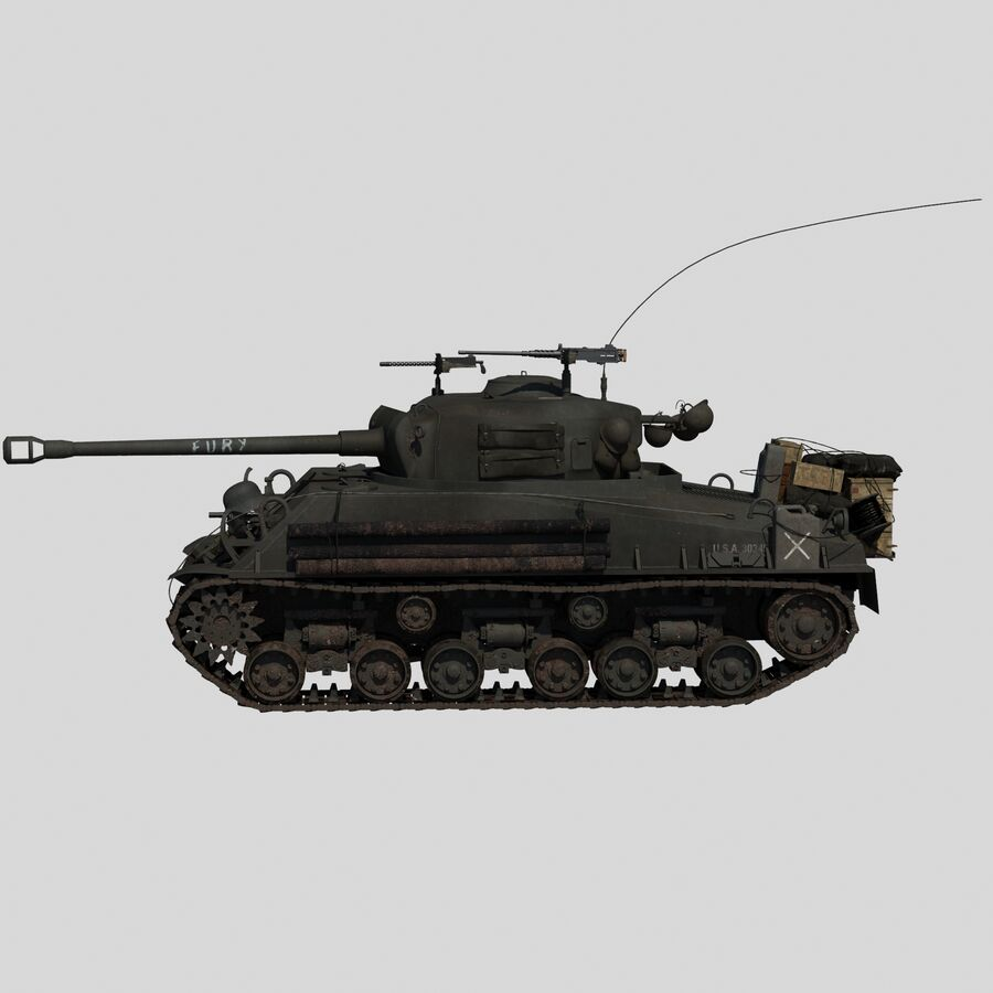 Sherman Tank Fury royalty-free 3d model - Preview no. 4