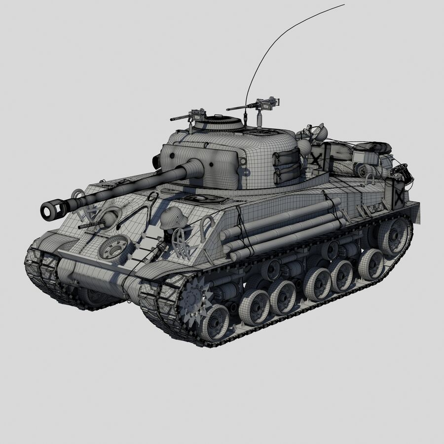 Sherman Tank Fury royalty-free 3d model - Preview no. 10