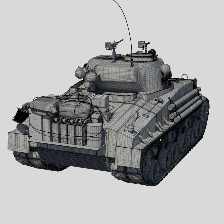 Sherman Tank Fury royalty-free 3d model - Preview no. 11