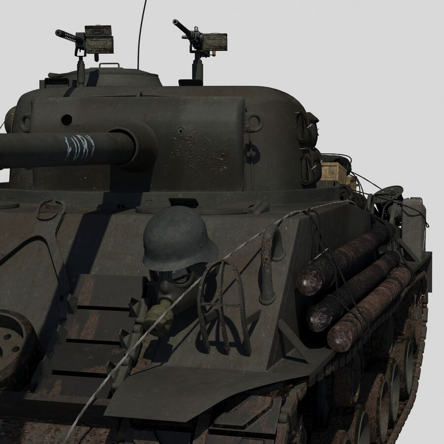 Sherman Tank Fury royalty-free 3d model - Preview no. 8