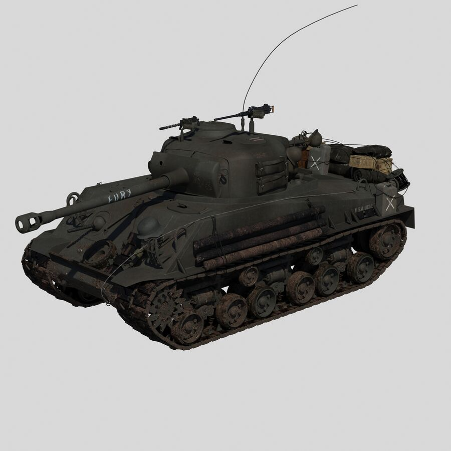 Sherman Tank Fury royalty-free 3d model - Preview no. 2