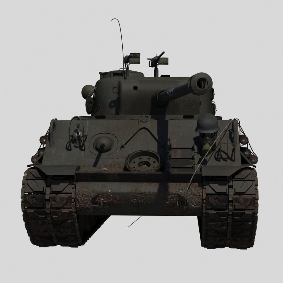 Sherman Tank Fury royalty-free 3d model - Preview no. 6