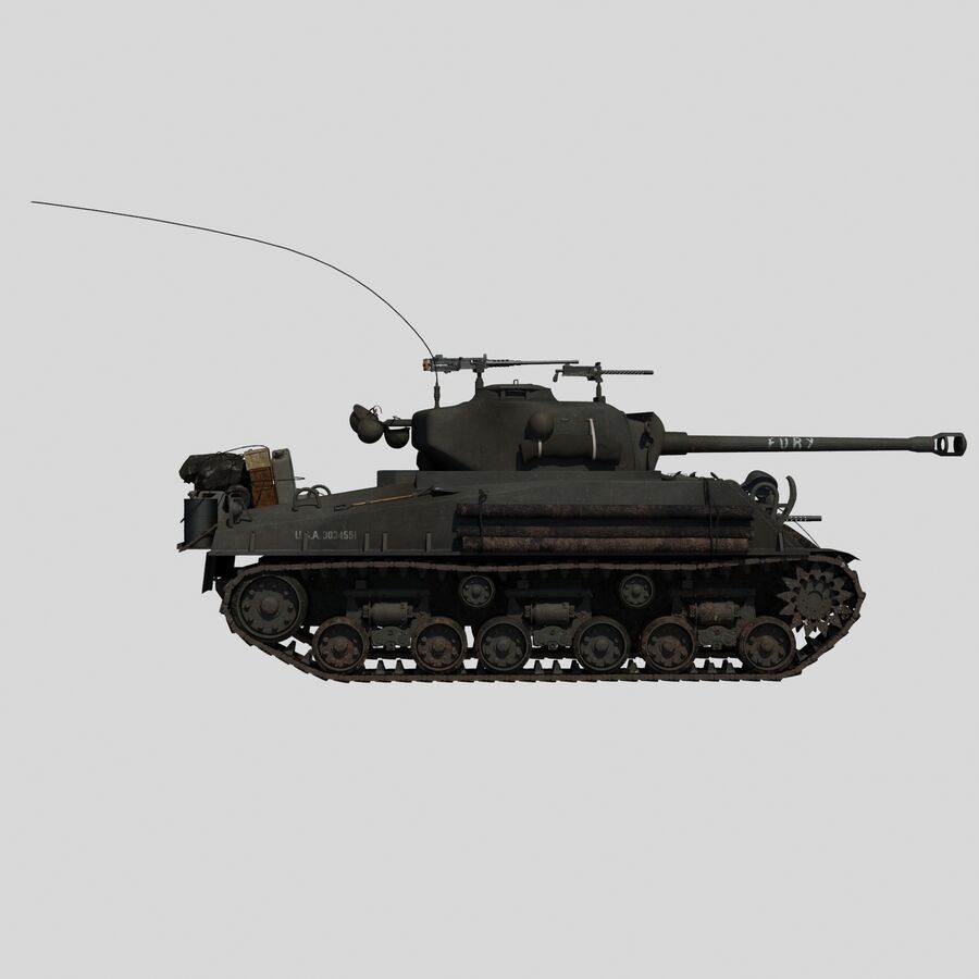 Sherman Tank Fury royalty-free 3d model - Preview no. 5