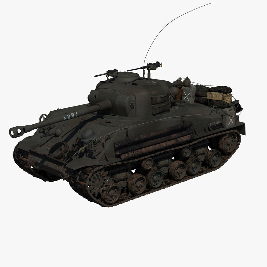 Sherman Tank Fury royalty-free 3d model - Preview no. 1