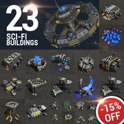 23 Sci-fi Buildings Pack 3d model