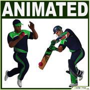 板球击球手和圆顶硬礼帽CG 3d model