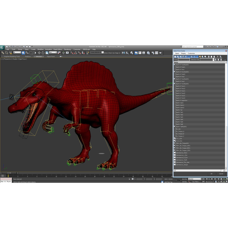 Spinosaurus Rigged royalty-free 3d model - Preview no. 49