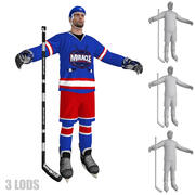 Hokej Player 2 LODs 3d model