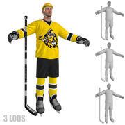 Gracz w hokeja 4 LODs 3d model