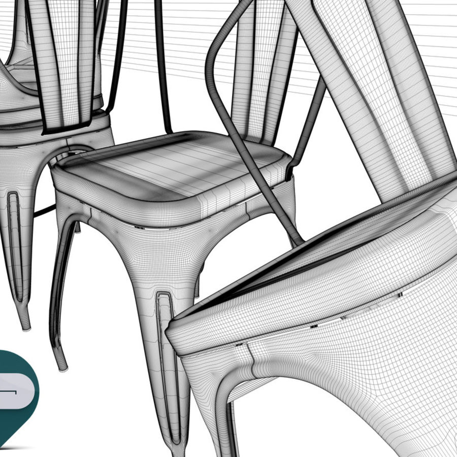 tolix chair royalty-free 3d model - Preview no. 13