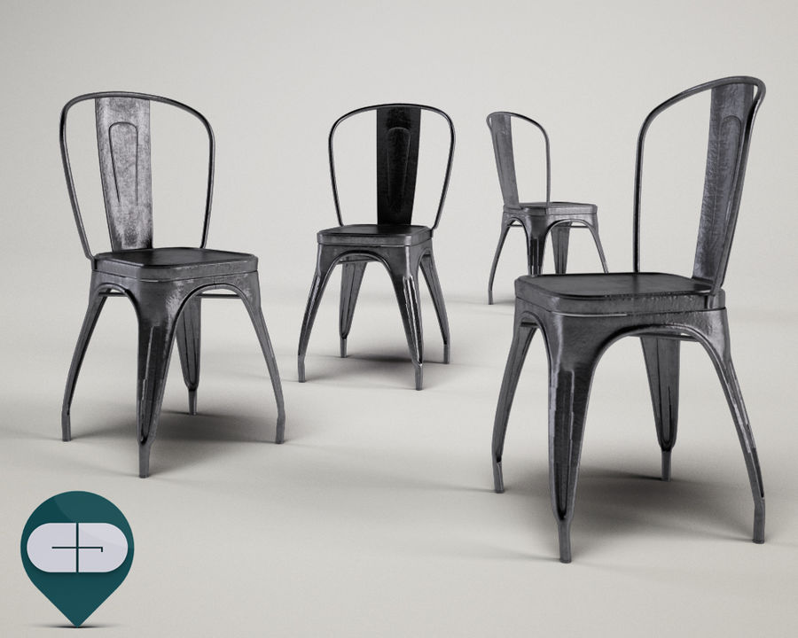 tolix chair royalty-free 3d model - Preview no. 1