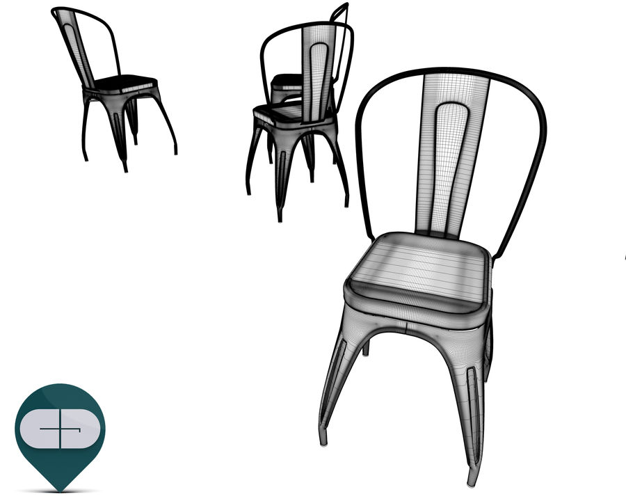 tolix chair royalty-free 3d model - Preview no. 15