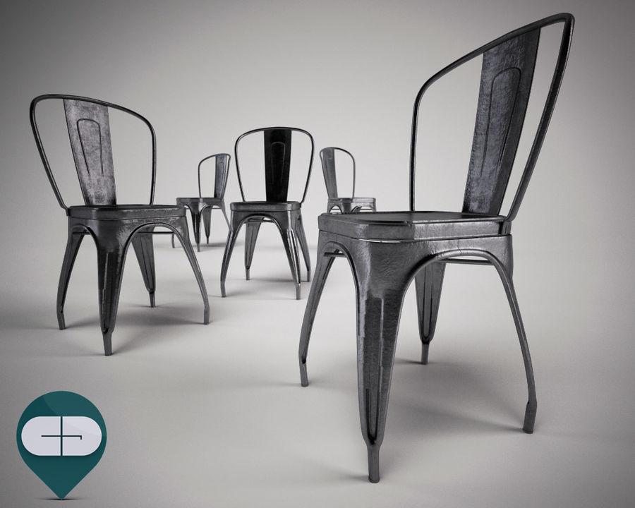 tolix chair royalty-free 3d model - Preview no. 6