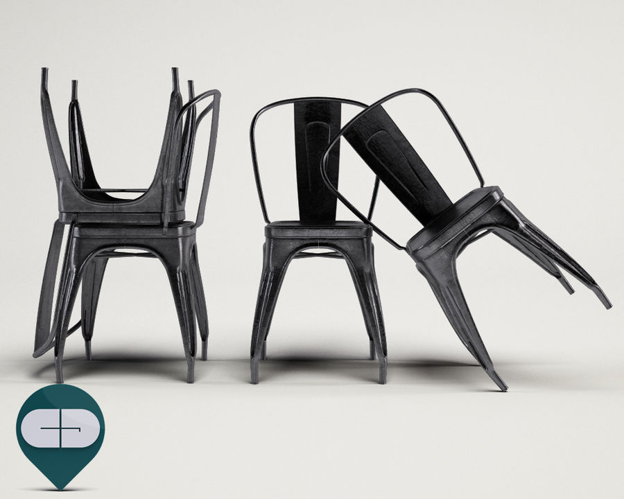 tolix chair royalty-free 3d model - Preview no. 3