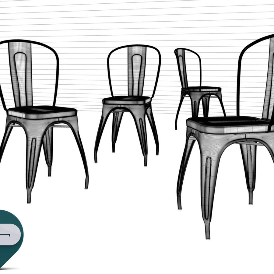 tolix chair royalty-free 3d model - Preview no. 8