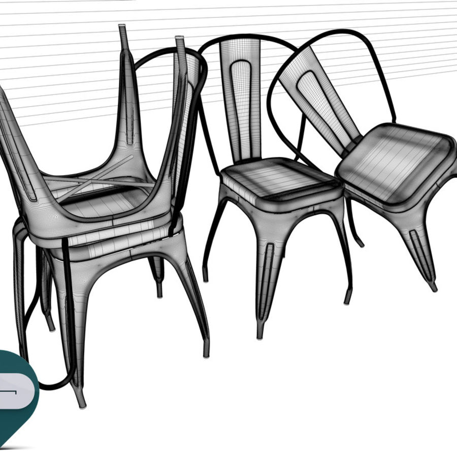 tolix chair royalty-free 3d model - Preview no. 11