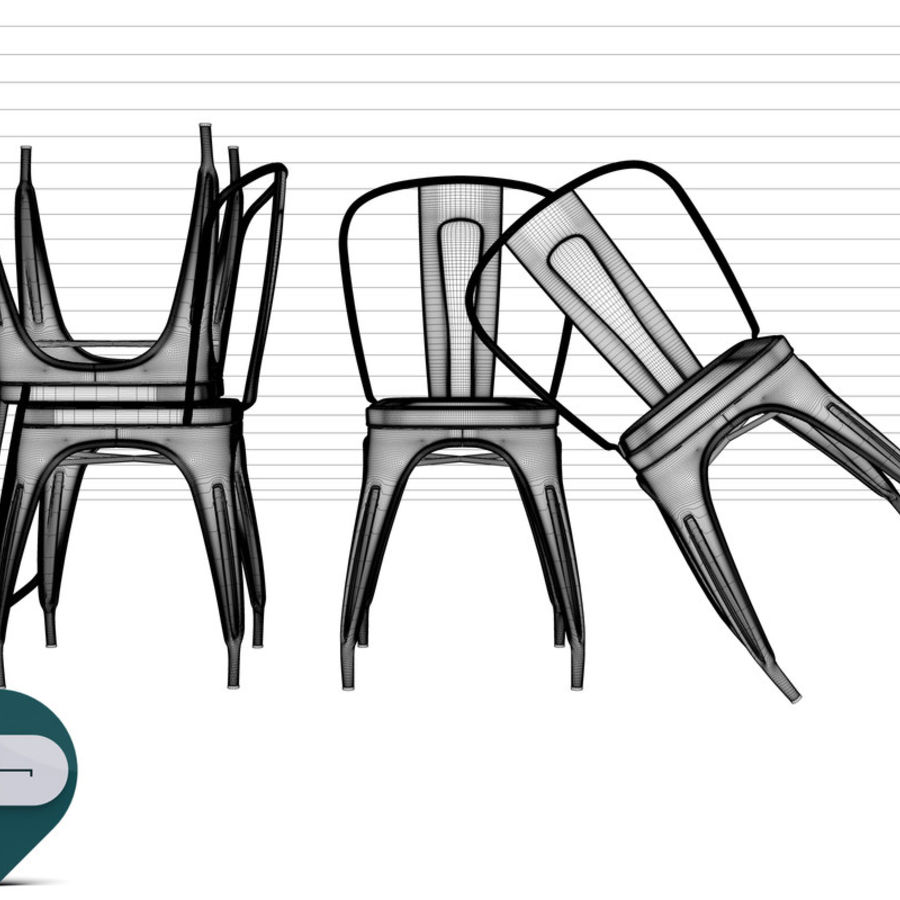 tolix chair royalty-free 3d model - Preview no. 10