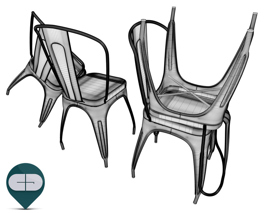 tolix chair royalty-free 3d model - Preview no. 12