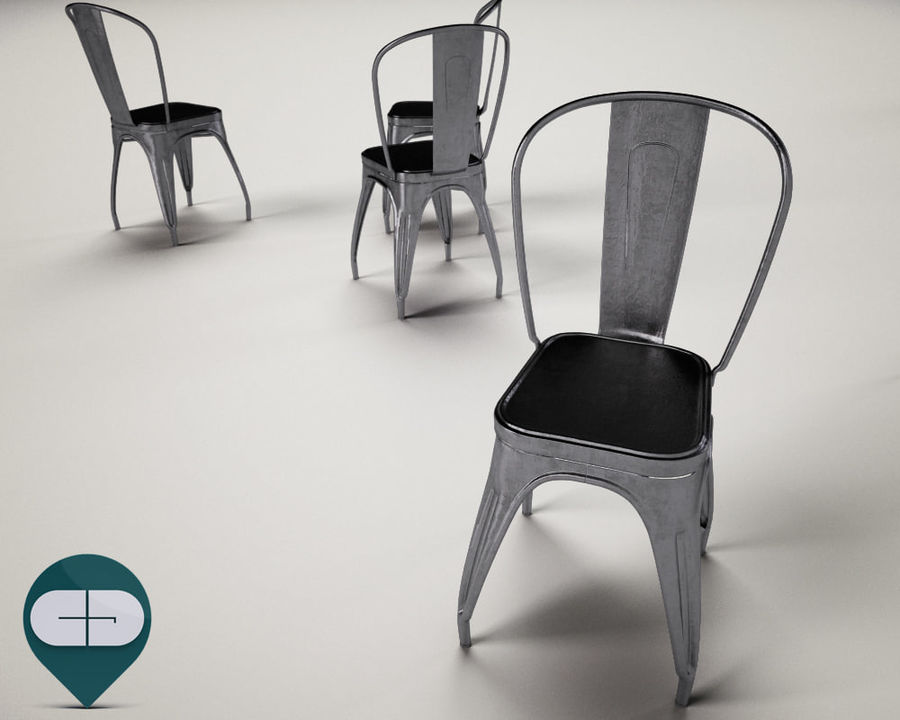 tolix chair royalty-free 3d model - Preview no. 7