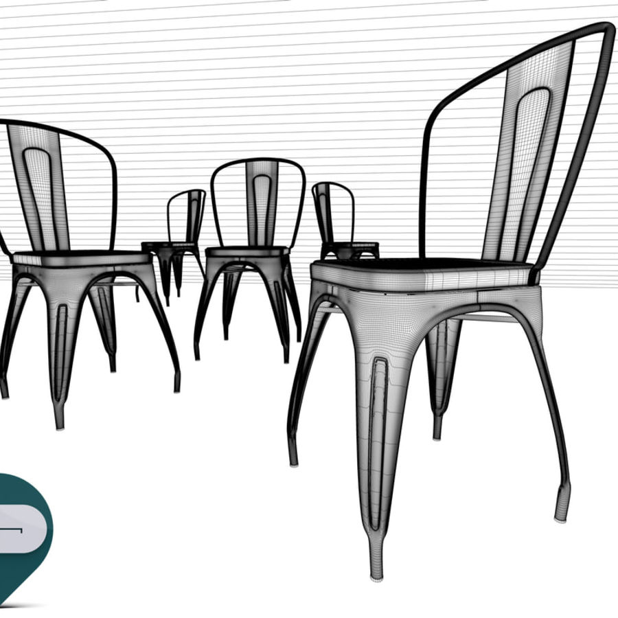 tolix chair royalty-free 3d model - Preview no. 14