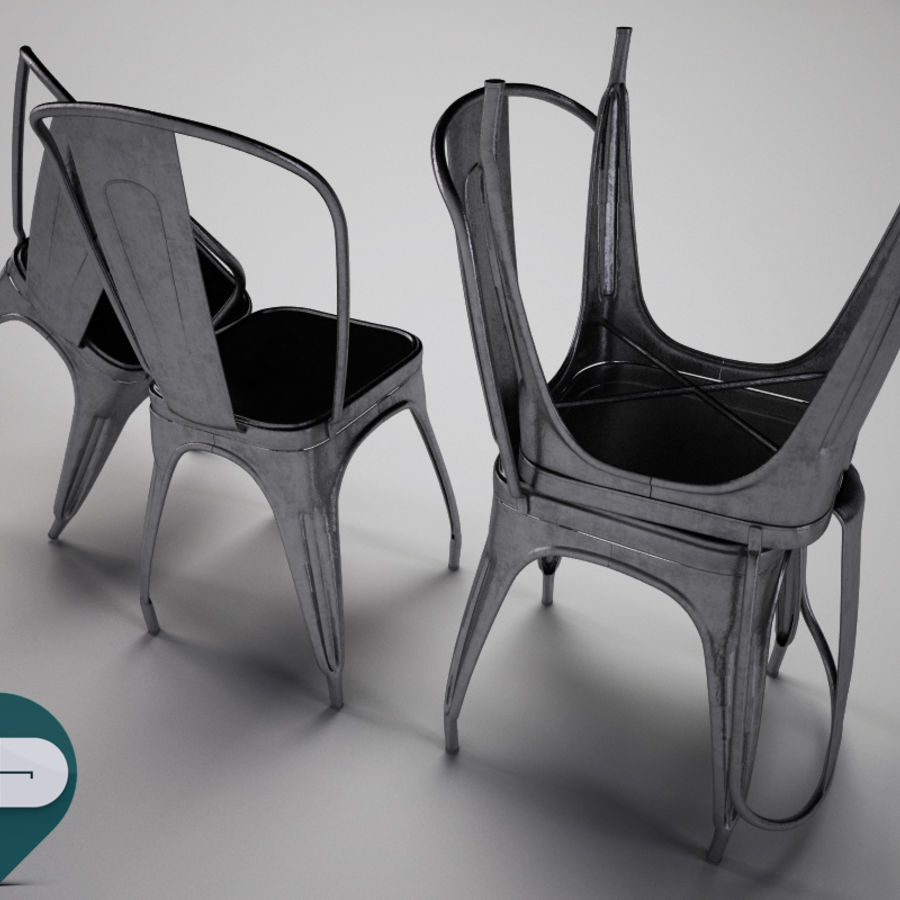 tolix chair royalty-free 3d model - Preview no. 4