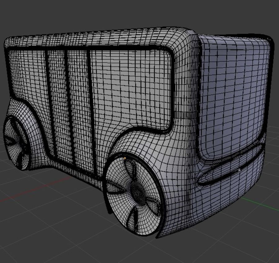 Mini bus(concept styled) 1 royalty-free 3d model - Preview no. 7