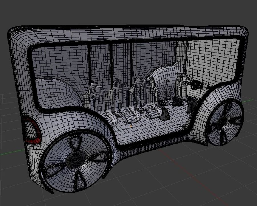 Mini bus(concept styled) 1 royalty-free 3d model - Preview no. 9