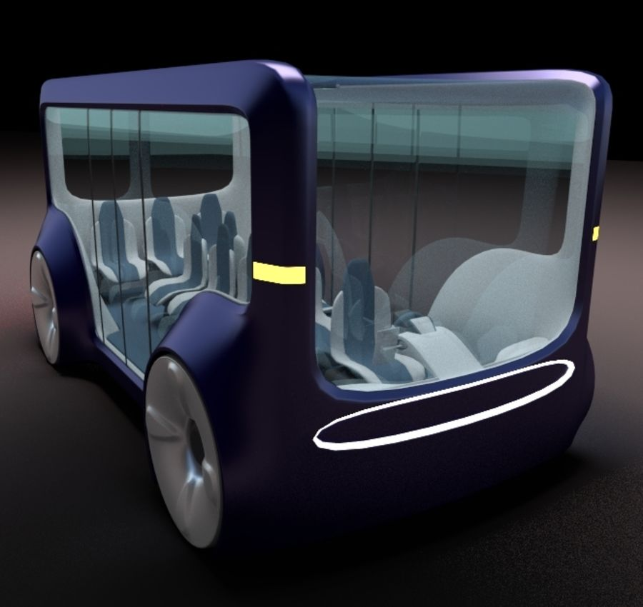 Mini bus(concept styled) 1 royalty-free 3d model - Preview no. 1