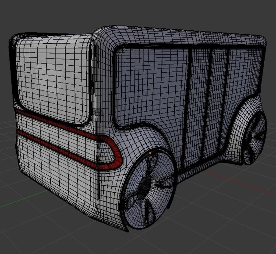 Mini bus(concept styled) 1 royalty-free 3d model - Preview no. 8