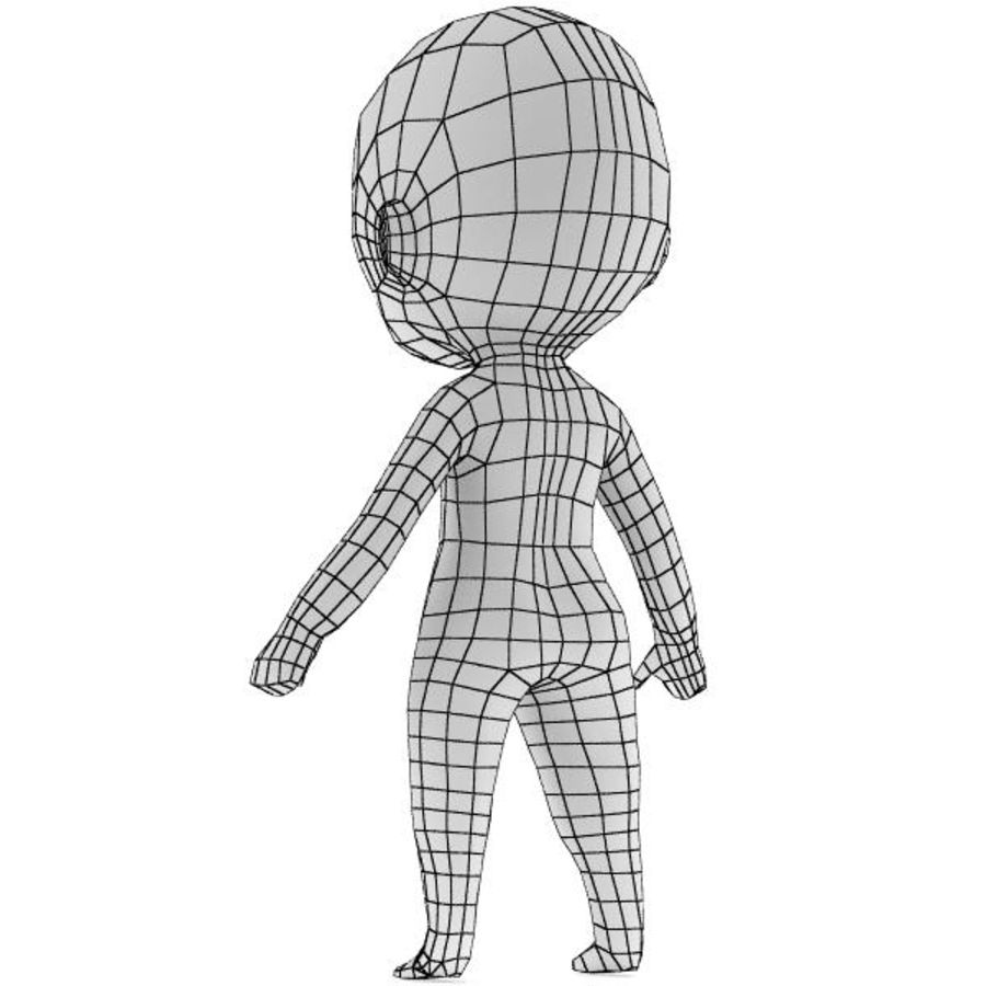 Chibi Base Mesh royalty-free 3d model - Preview no. 4