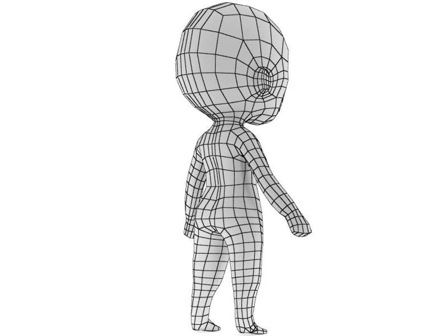 Chibi Base Mesh royalty-free 3d model - Preview no. 3